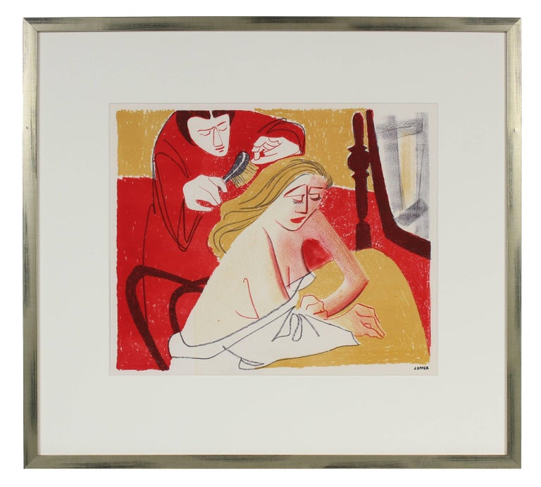 Two Figures in a Bedroom, Lithograph Print, 1950s