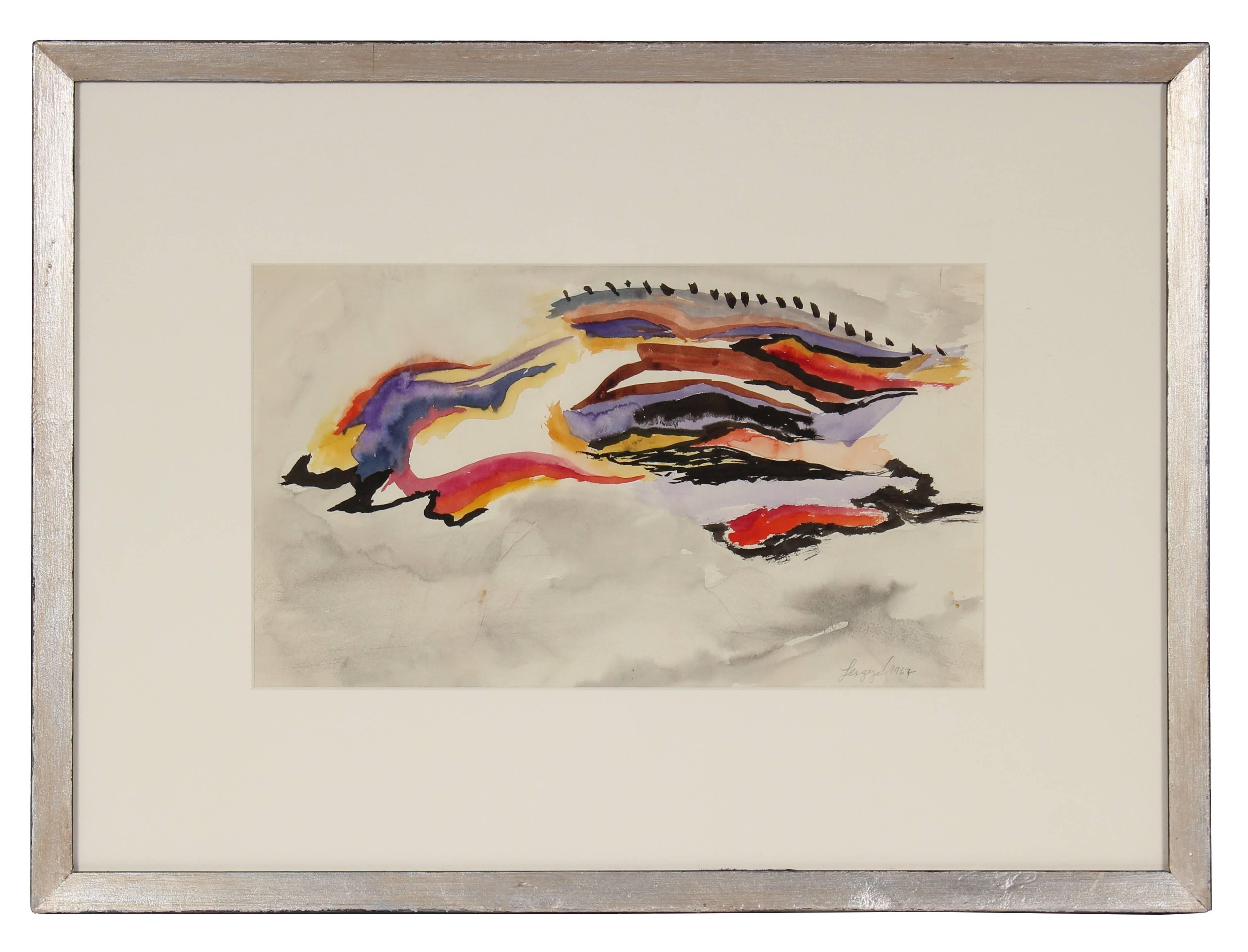 Colorful Gouache Abstracted Modernist Landscape in Metallic Frame