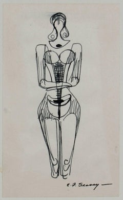 Simplified Figure Study in Ink, 1952