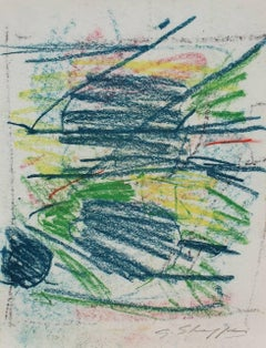 Abstract Expressionist Study in Blue and Green, Pastel on Paper, 1962
