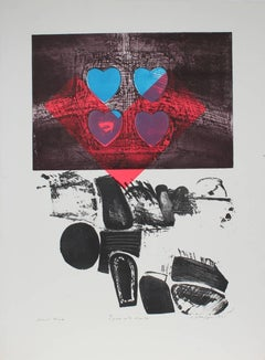 """Figure With Hearts"" Large Abstract Expressionist Print, 1991"
