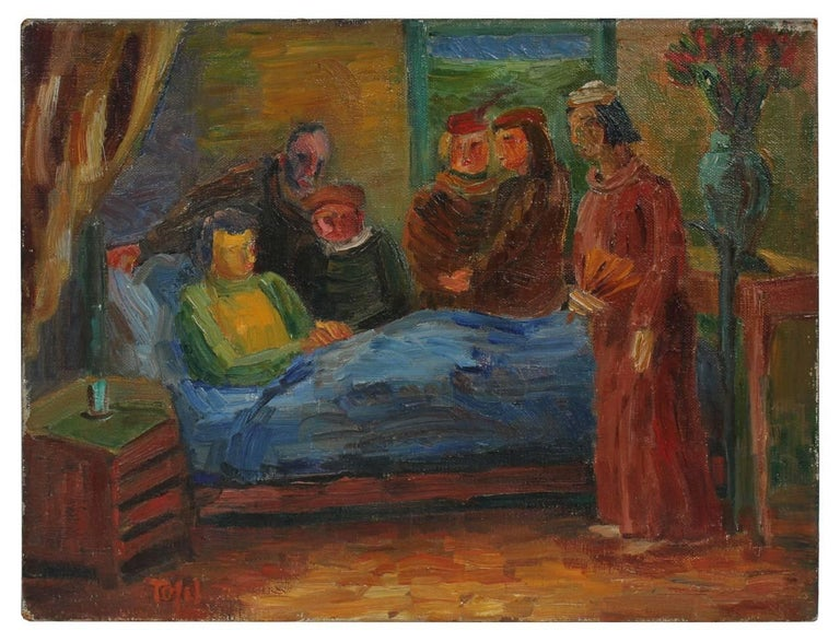 """Waiting Hours"" Expressionist Bedroom Figures, 1941"