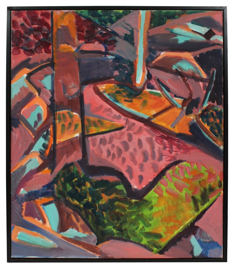Abstracted Fauvist Landscape in Pink, Oil on Canvas, Late 20th Century