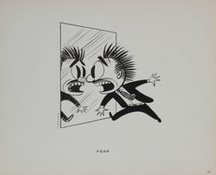 """Fear"" Cartoon Illustration in Ink, 1946"