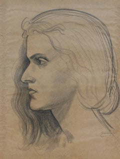 Female Profile Portrait in Graphite, Circa 1920s