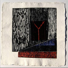 Large Abstract Collograph Print on Handmade Paper, 1989