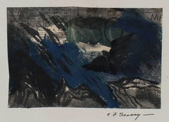 Abstract in Blue, Gouache on Newsprint, 1946