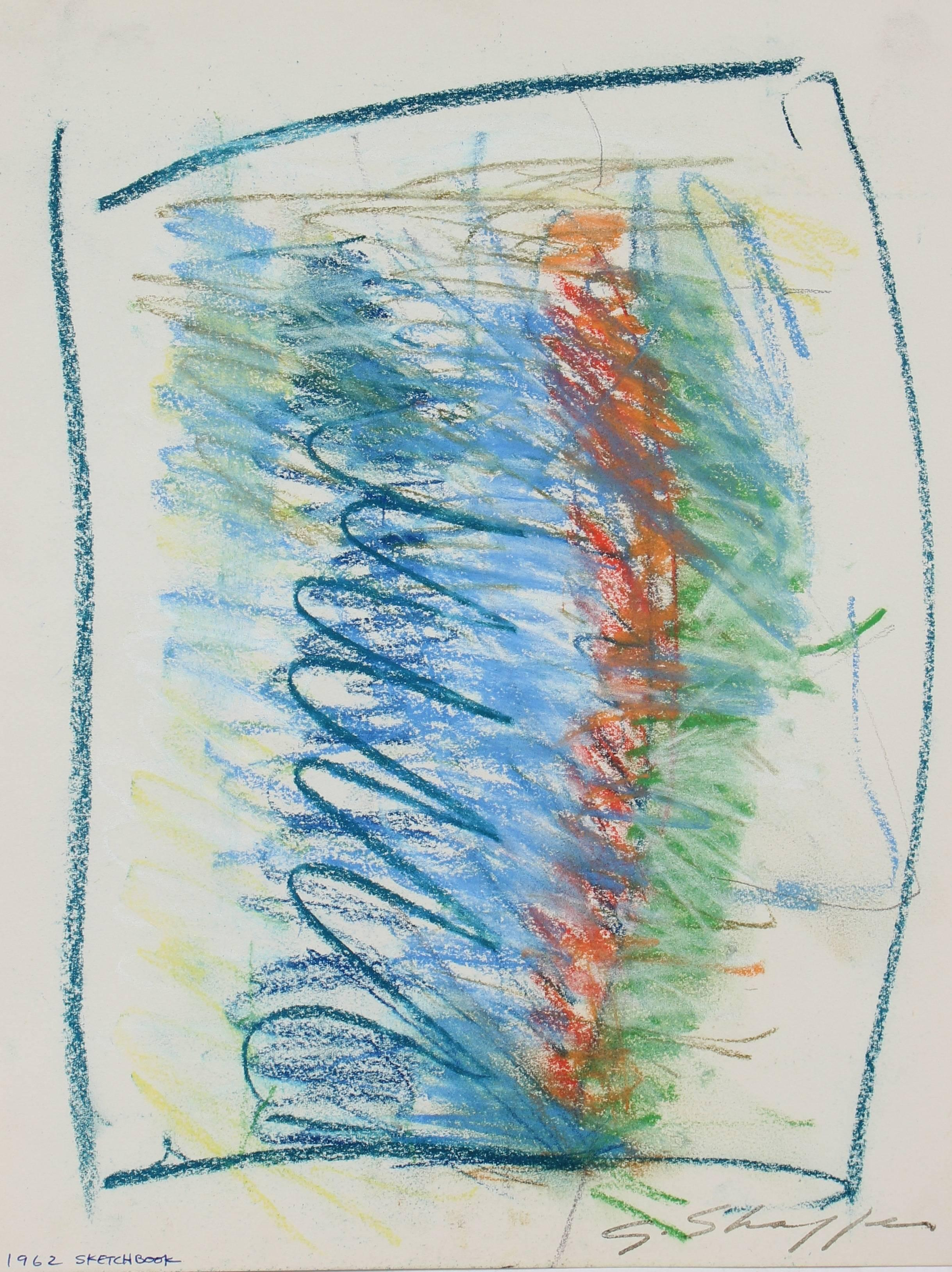 Abstract Expressionist Colorful Drawing in Pastel with Blue Green Orange, 1962