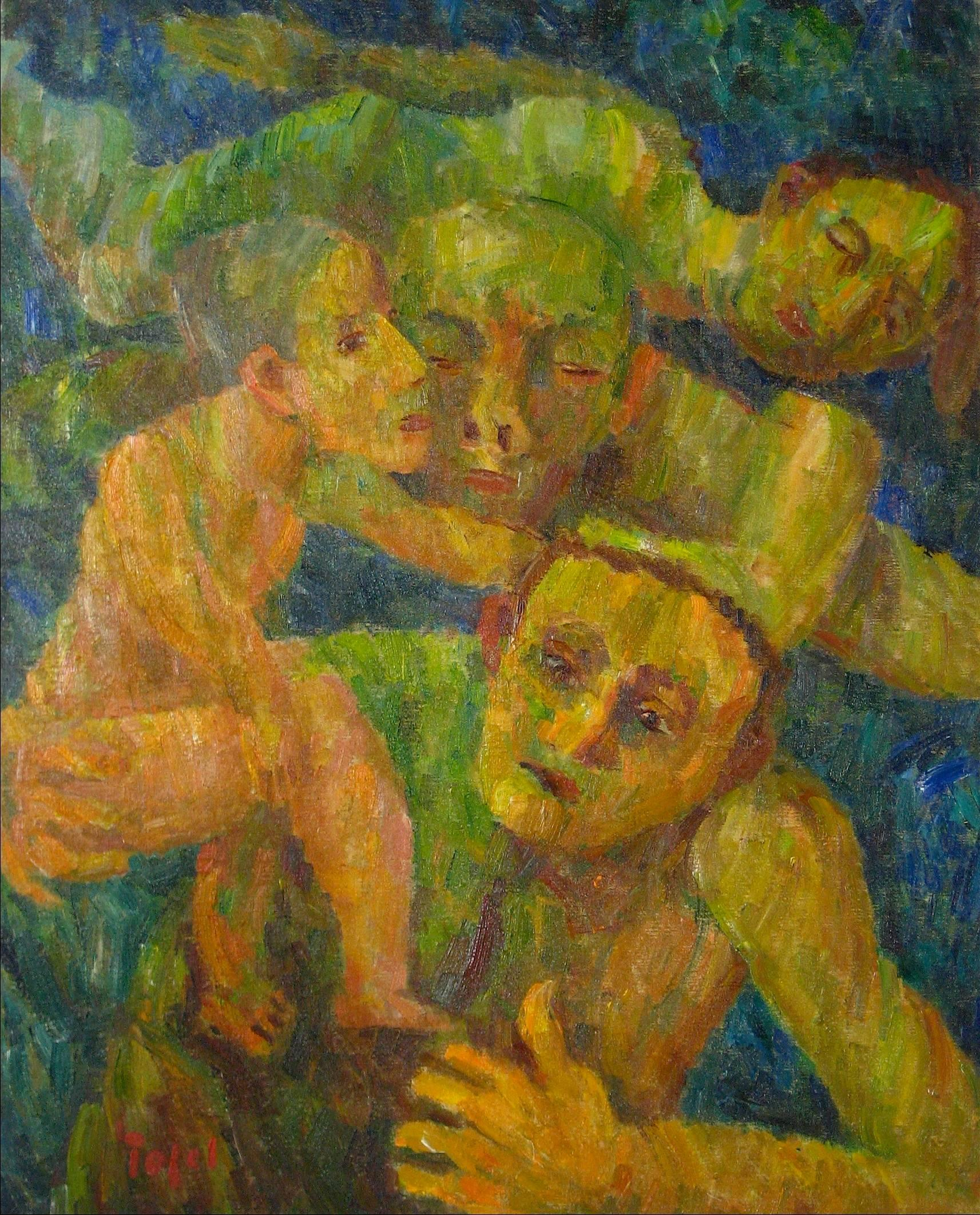 """""""Rescue"""" Expressionist Figures, Oil on Canvas, 1951"""