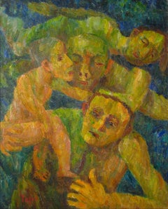 """Rescue"" Expressionist Figures, Oil on Canvas, 1951"