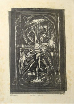 """Katharsis"" Monochromatic Abstract Linoleum Print, Mid 20th Century"