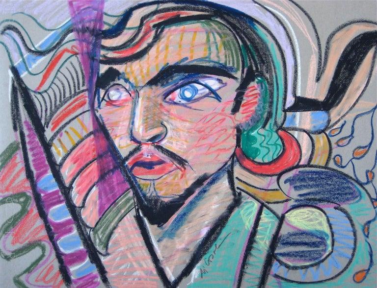 Michael di Cosola Figurative Art - Surrealist Portrait in Pastel with Purple and Pink, Mid Century