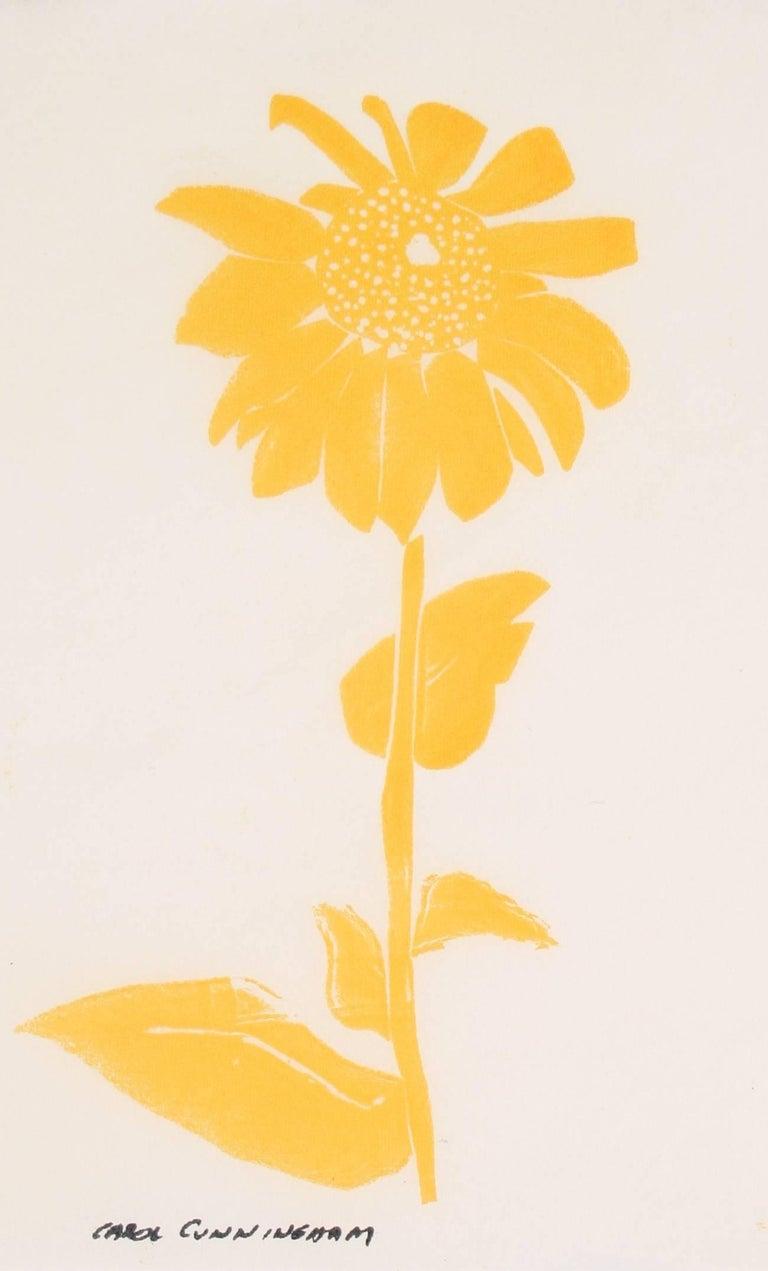 Carol Cunningham Still-Life Print - Yellow Daisy, Serigraph on Paper, Circa 1960's