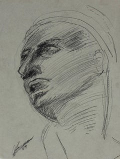 Modernist Portrait Sketch in Charcoal, 1959