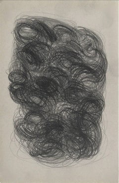 Swirled Abstract in Graphite, Framed, Circa Mid 20th Century