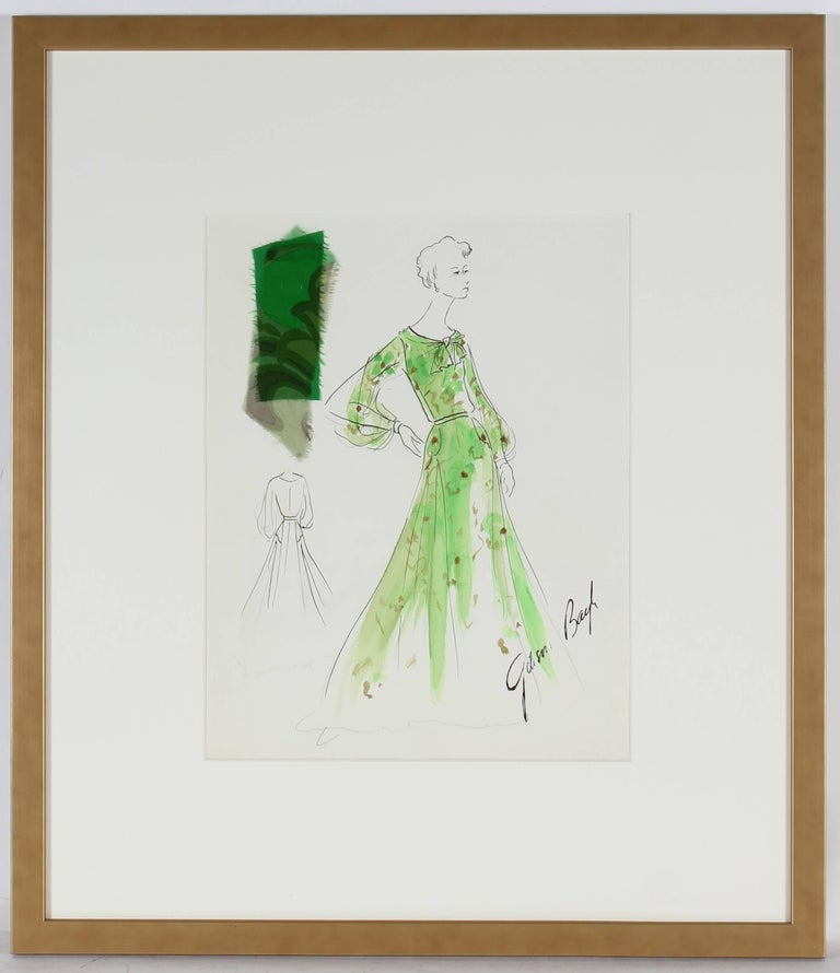 Fashion Illustration in Green, Ink and Gouache, 1950s