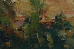 Abstracted Los Angeles Landscape in Oil, 20th Century