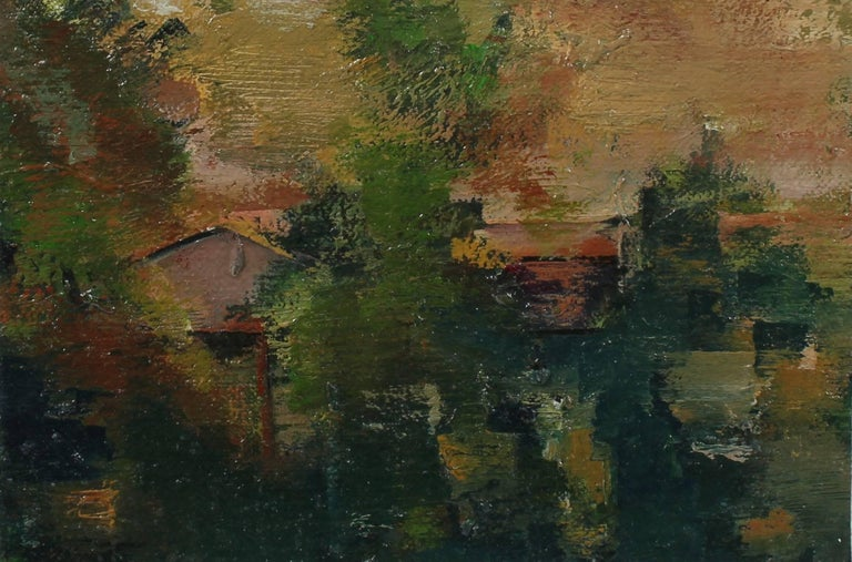 Schuyler Standish Landscape Painting - Abstracted Los Angeles Landscape in Oil, 20th Century