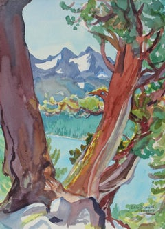 """Juniper Trio Above Caples Lake"" California Landscape in Watercolor, 1996"