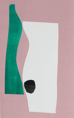 Minimal Abstract Monotype in Pink, Framed, 20th Century