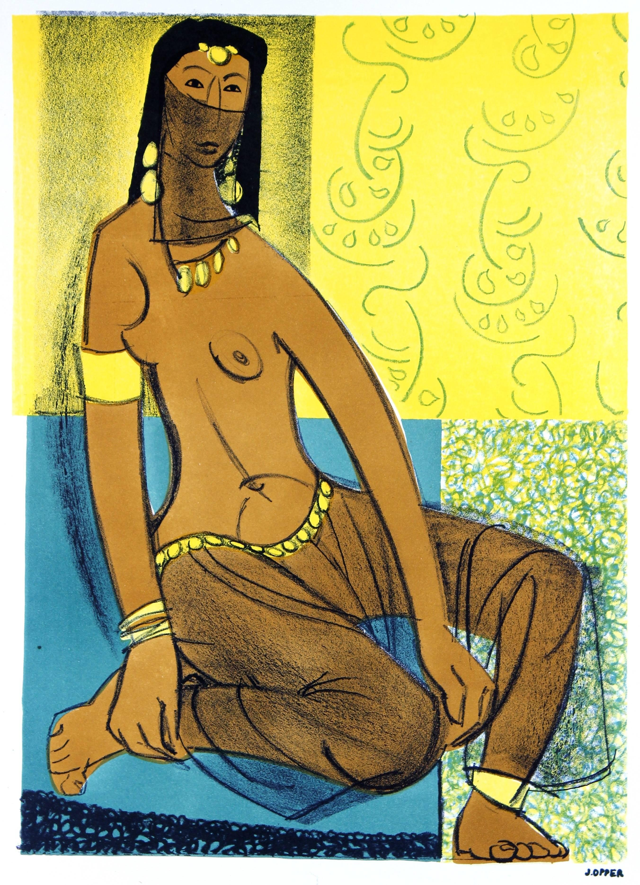 Seated Veiled Woman, Mid Century Lithograph