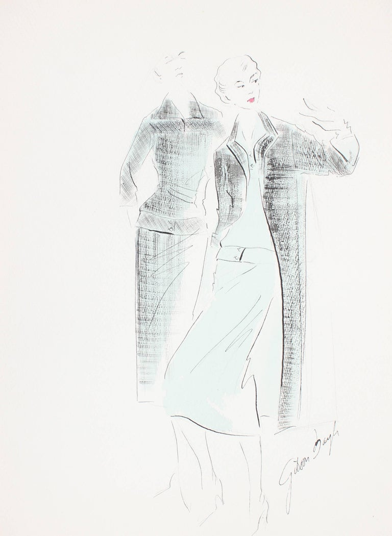 Fashion Illustration in Blue and Black, Ink and Gouache Drawing, 1950s
