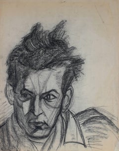 Expressionist Male Portrait in Charcoal, Mid 20th Century
