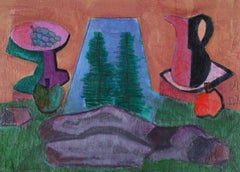 """Picnic by Rock"" Cubist Still Life, Acrylic Painting, 2009"