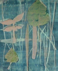 """June"" Mixed Media Abstract Print with Leaves, Circa 1971"