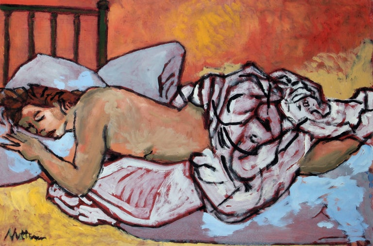 Nude Figure in Bed, Oil on Canvas, Late 20th Century