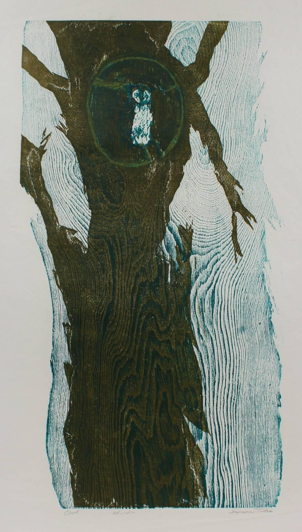 """""""Owl"""" Abstracted Woodcut Print, 20th Century"""