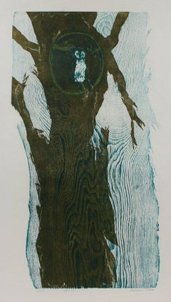 """Owl"" Abstracted Woodcut Print, 20th Century"