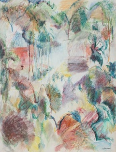 Colorful Abstracted Landscape in Pastel, 1980