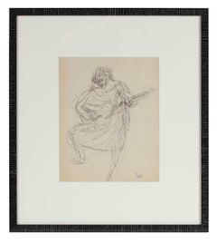 Expressionist Woman Playing Guitar, Framed Ink Sketch, Early to Mid 20th Century