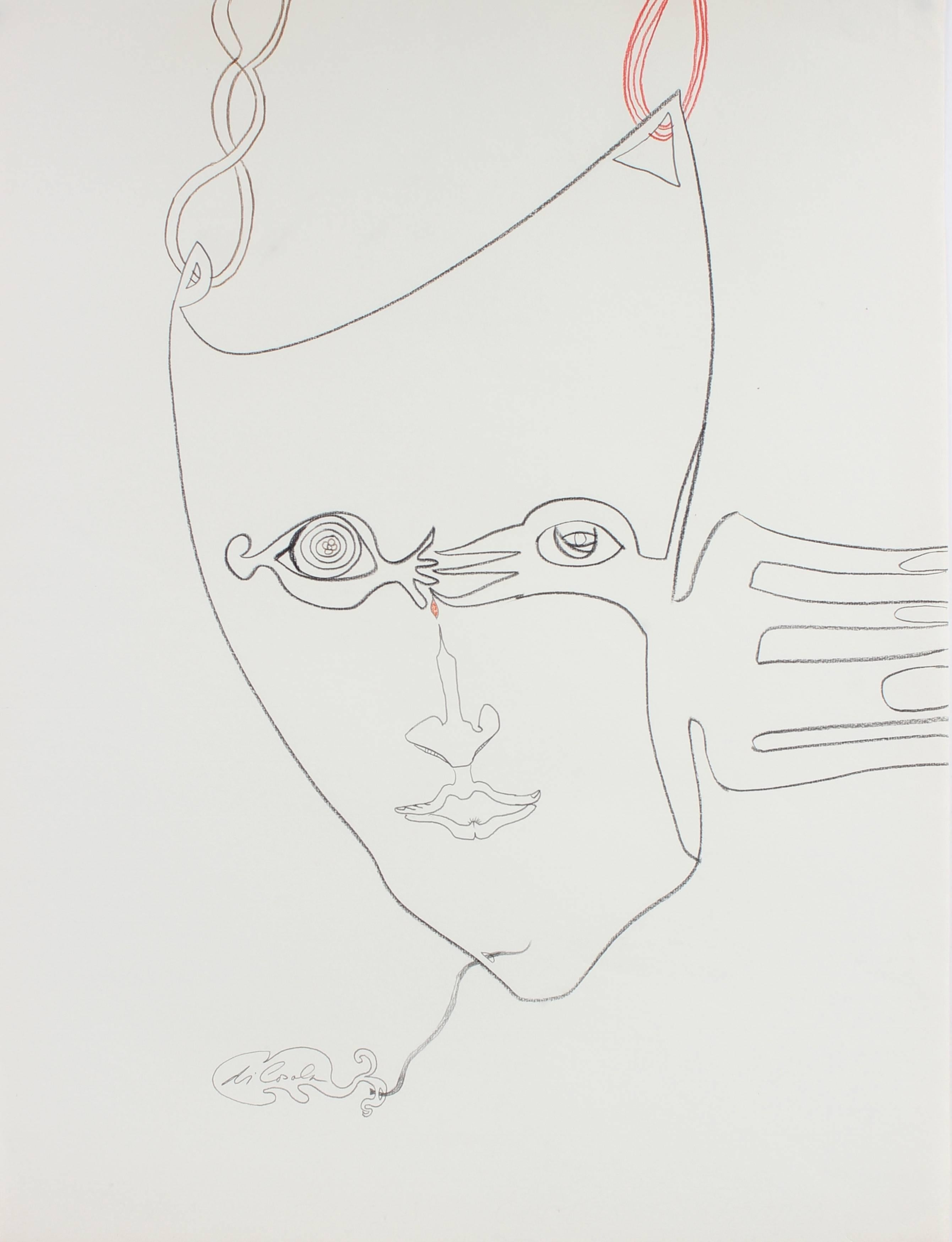 Surrealist Portrait Drawing with Red, Oil Pastel on Paper, Circa 1970s