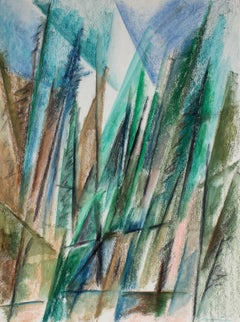 Abstracted Forest Landscape in Pastel, 20th Century