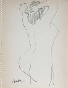 Monochromatic Nude Figure Drawing, Graphite on Paper, 1989