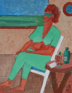 """Love Boat Series"" Sunbathing Portrait in Acrylic, 2008"