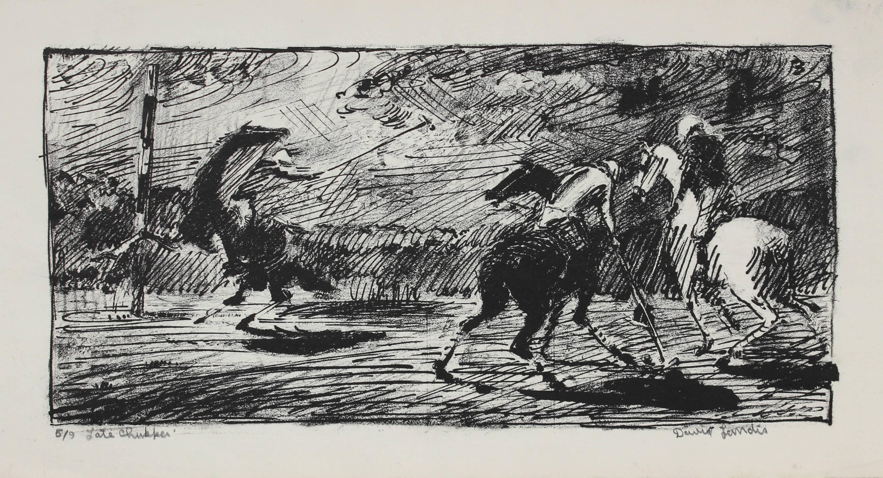 "Mid 20th Century ""Late Chukker"" Polo Scene Lithograph"