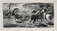 "Mid 20th Century ""Late Chukker"" Polo Scene Lithograph"
