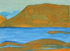 """Mendocino Lake I"" Ukiah Landscape in Gouache and Oil, 2016"