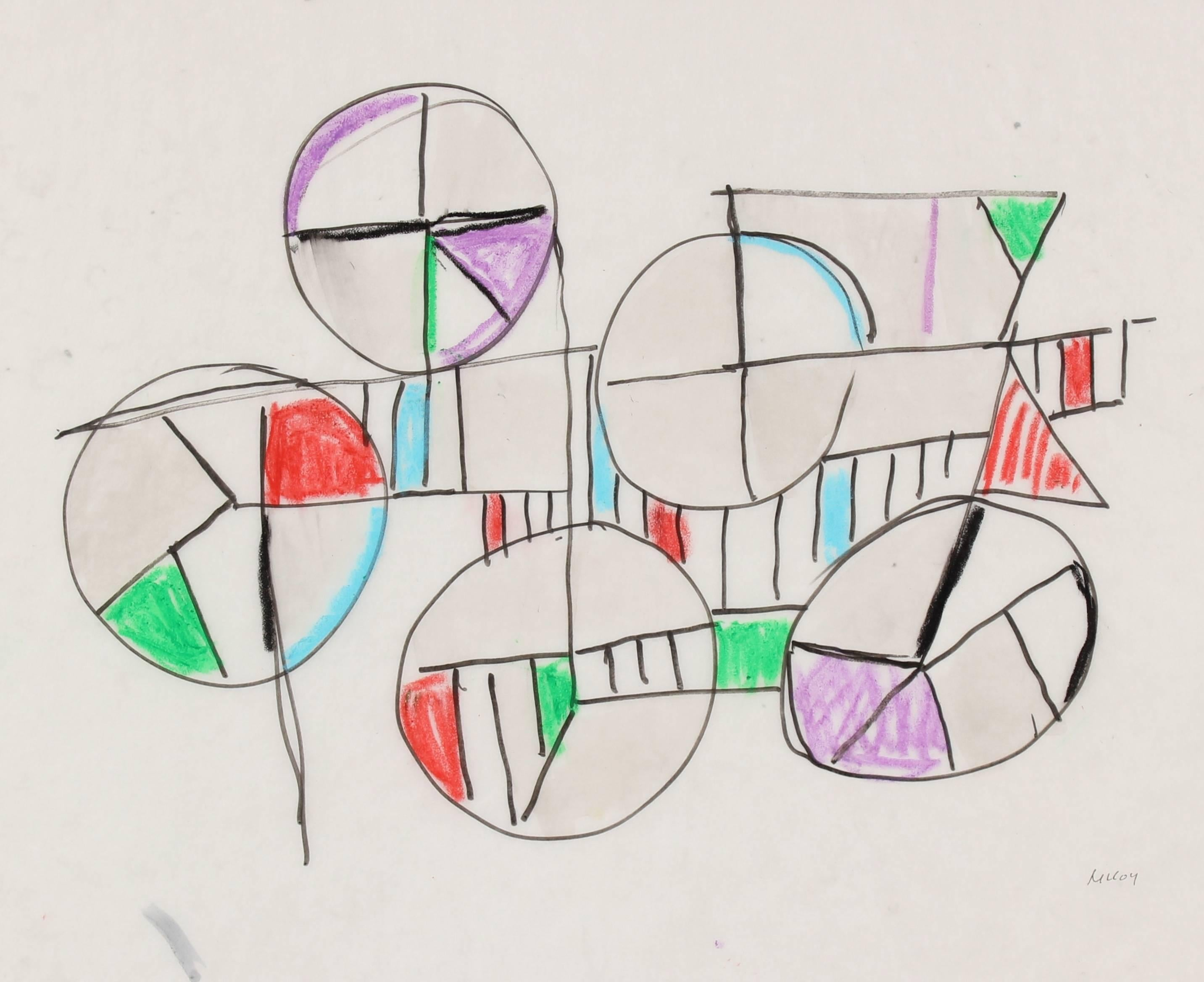 Circular Abstract in Oil Pastel, Circa 1960s