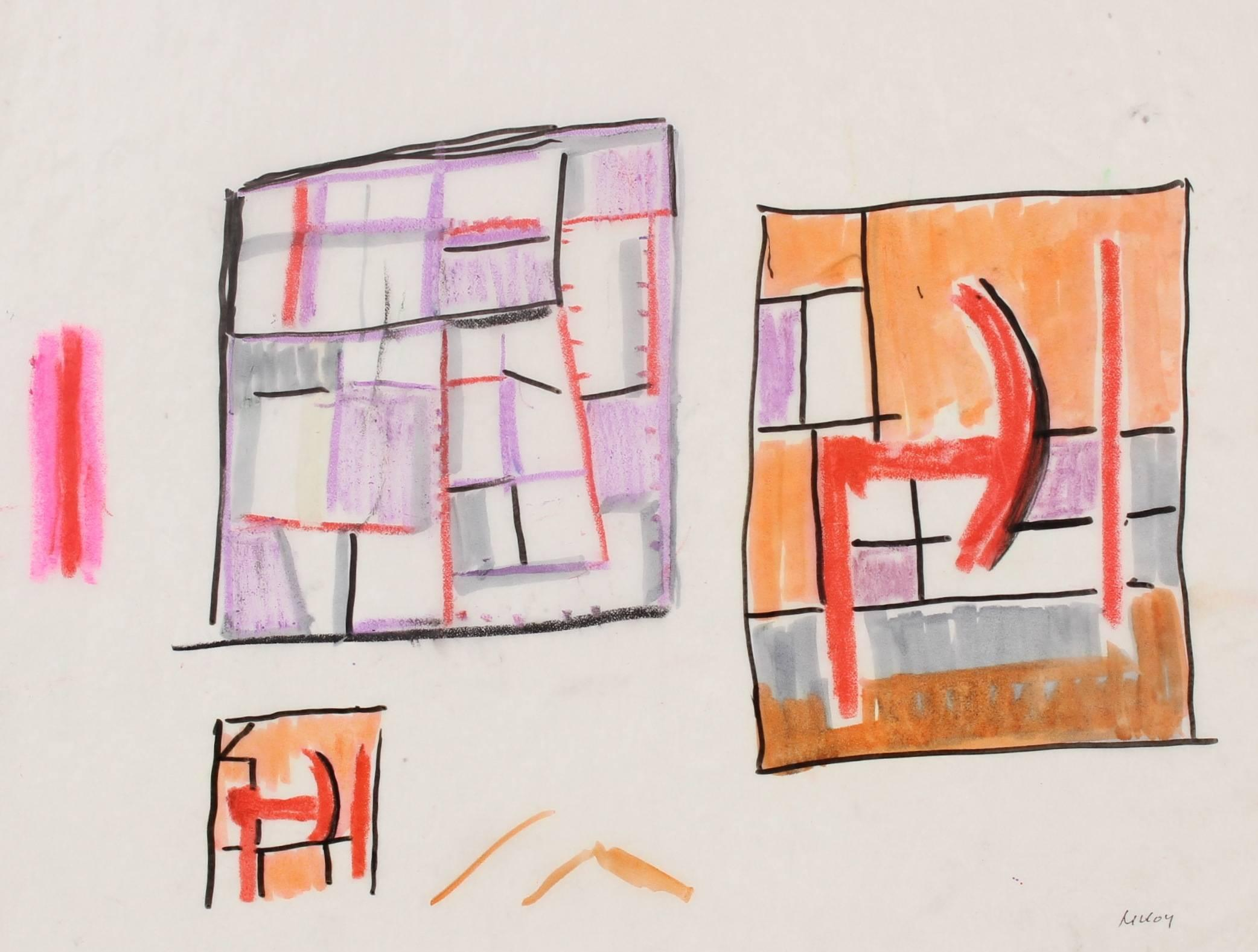 Geometric Abstract in Oil Pastel, Circa 1960s