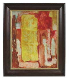 Modernist Abstract in Red and Yellow, Oil Painting, Circa 1950s