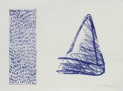 Triangle and Rectangle Abstract Lithograph in Blue and White, Late 20th Century
