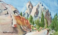 California Mountain Landscape in Watercolor, Late 20th Century