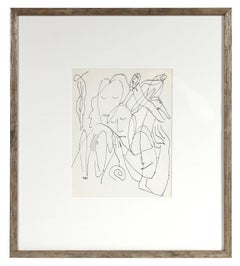 Expressionist Figures, Framed Ink Drawing, Early 20th Century
