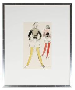 Mid Century Fashion Illustration in Gouache, Circa 1950