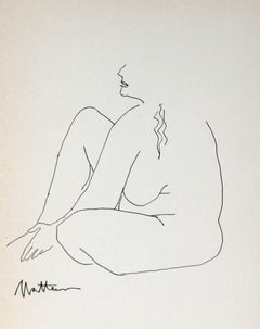 Minimal Nude Line Drawing, Ink on Paper, 1989