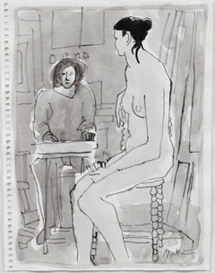 Female Figure Drawn in Drawing Class, Grey Ink Wash on Paper, 20th Century